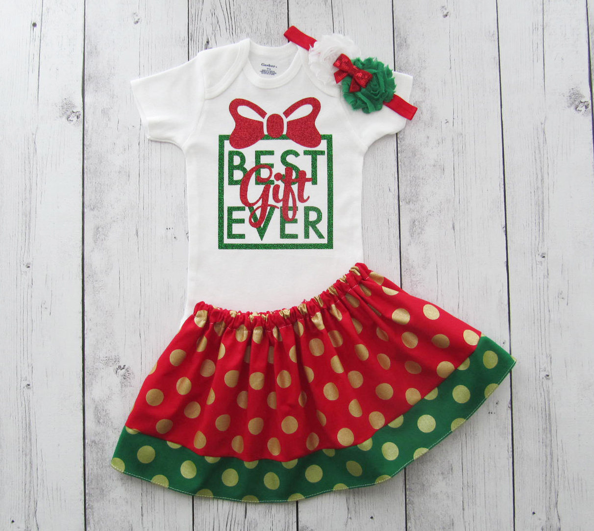 Best Gift Ever Christmas Outfit - baby girl christmas outfit, christmas skirt, best gift ever onesie, xmas gift, baby first christmas