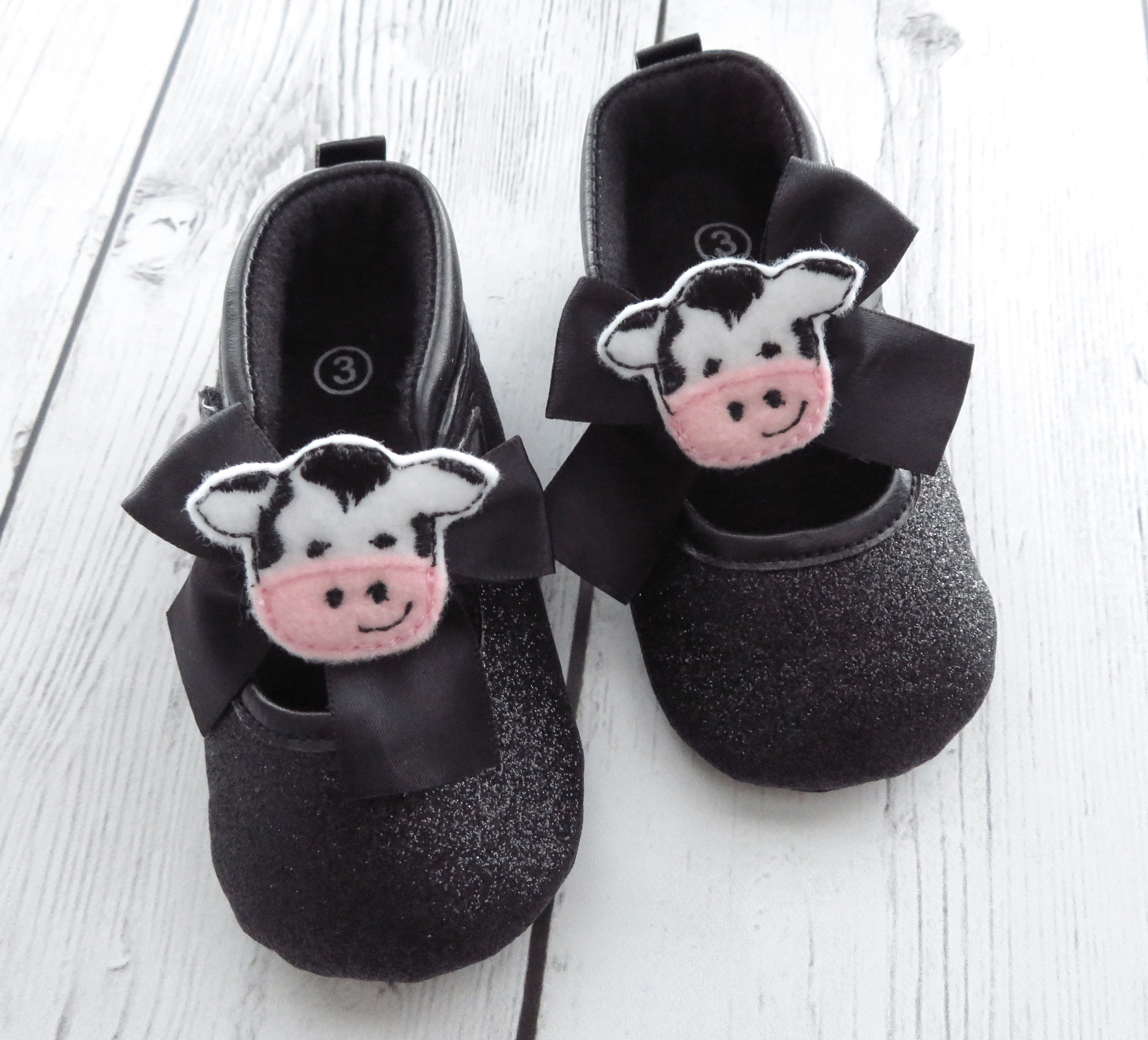 CLEARANCE SALE - Cow First Birthday Shoes -first walkers, first birthday shoes, soft sole shoes, cow 1st bday shoes, barnyard first birthday
