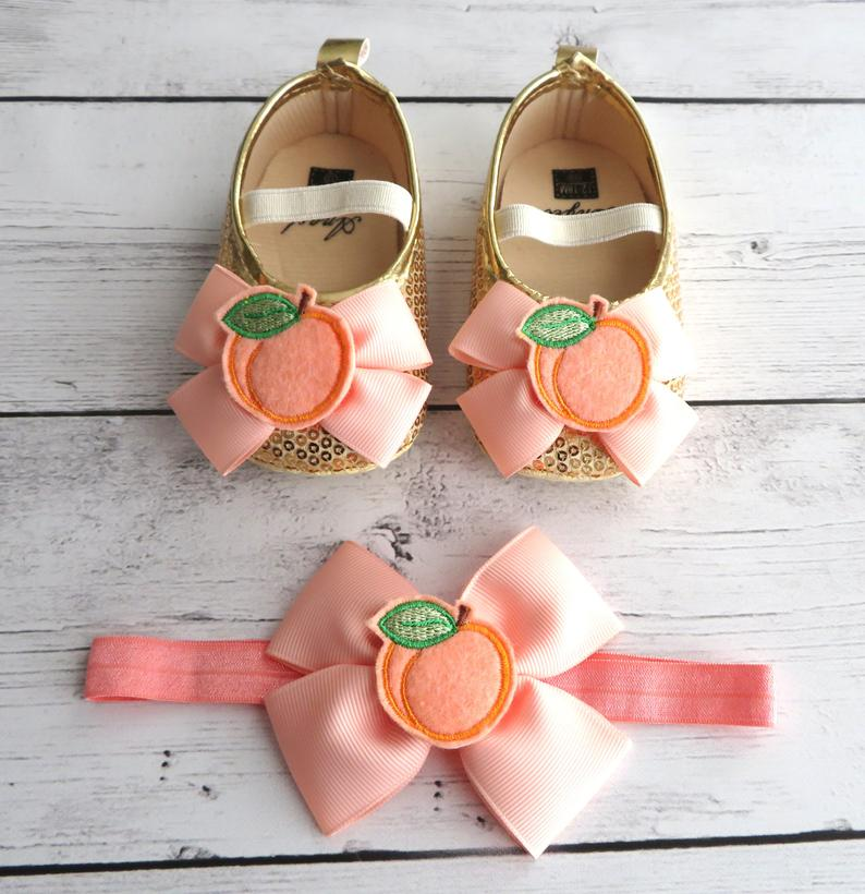 Peaches First Birthday Shoes & Headband Set - sweet one birthday, 1st birthday mocassins, soft sole toddler shoes, sweet as a peach birthday