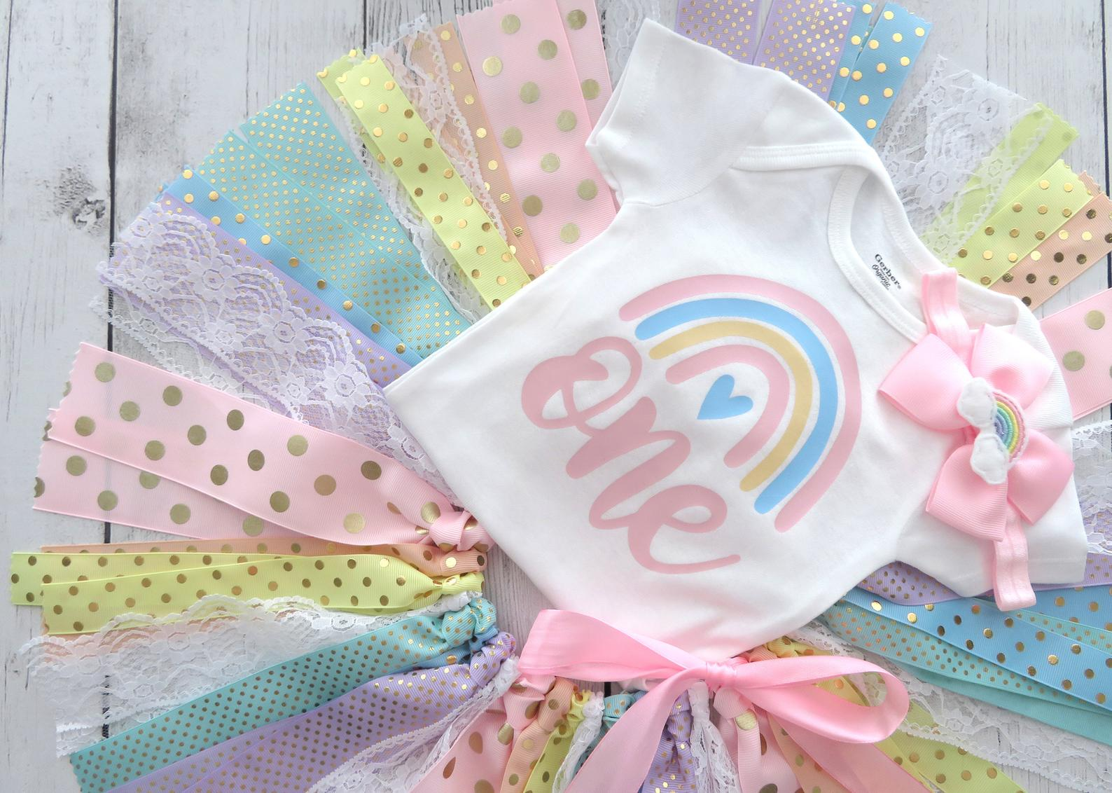 Pastel Rainbow First Birthday Outfit with Fabric Tutu, Headband and Shoes - 1st birthday dress, pink rainbow, first birthday outfit girl,