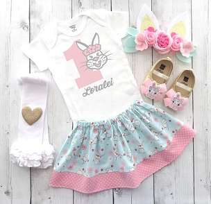 Some Bunny is One First Birthday Outfit for baby girl with bunny ear headband and bunny shoes - bunny 1st bday outfit girl, personalized