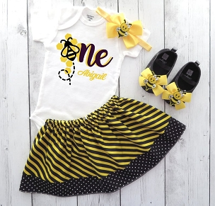 Bee First Birthday Outfit with striped yellow and black skirt - bee one, first bee day, fun to bee one, 1st bday outfit girl, first birthday