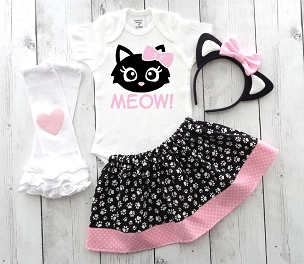 Cat Halloween Costume for Baby Girl - toddler halloween costume, kitty halloween costume, first halloween girl, black cat halloween girl