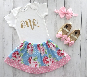 Floral First Birthday Outfit in Blue Roses Print - shabby chic first birthday outfit, girl first birthday outfit, floral 1st birthday outfit