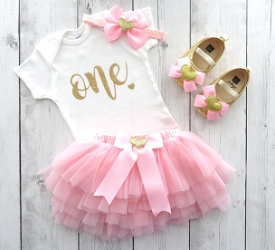 Themeless & Simple First Birthday Outfit for baby girl with pink tutu - pink and gold first birthday party, first birthday dress, pink gold