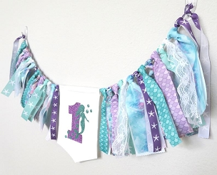 Mermaid High Chair Banner for First Birthday - mermaid banner/pennant, mermaid 1st bday party, mermaid birthday party decor
