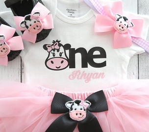 Barnyard First Birthday Outfit with pink tutu and cow shoes - cow 1, girl 1st bday outfit, cowgirl, farm animal, barnyard animal birthday