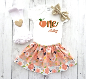 Peach Birthday Outfit with Orange Floral Skirt - 1st bday outfit girl, 1st birthday dress, one year old, peaches birthday theme, 1st bday