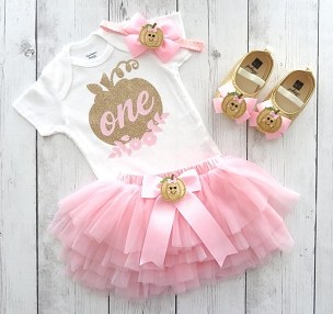 Pumpkin First Birthday Outfit in Pink and Gold with tutu bloomers - our little pumpkin is one, pumpkin floral, pumpkin tutu, one pumpkin