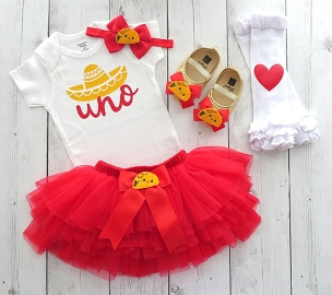 Taco First Birthday Outfit for girl with tutu bloomers - one year old, taco bout who's one, fiesta birthday party, uno, taco birthday girl