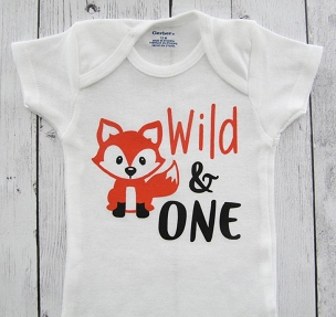 Fox 'Wild and One' First Birthday Onesie - baby boy, fox birthday, fox onesie, fox birthday shirt, woodland birthday boy