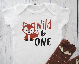 Fox First Birthday Onesie - wild one boy, wild one shirt, fox birthday party, woodland, cute fox one, wild and one onesie