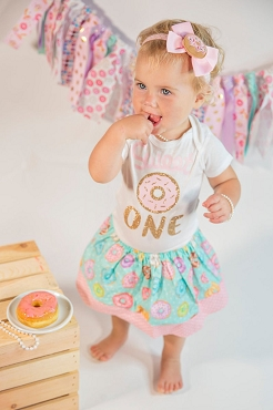 Donut Grow Up First Birthday Outfit with mint donut skirt - donut 1st birthday girl, first birthday dress, 1st birthay outfit girl