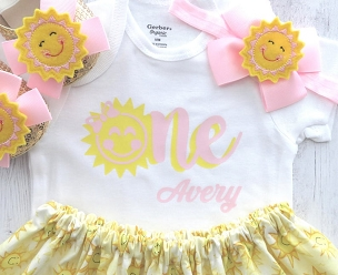 Sunshine First Birthday Outfit in Light Pink and Yellow - you are my sunshine, personalized onesie, sunshine birthday girl, 1st bday outfit