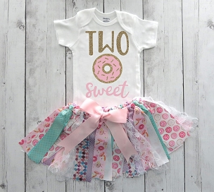Donut Second Birthday Outfit with Fabric Tutu and Donut Headband - two sweet, donut 12nd bday outfit girl, donut grow up birthday girl
