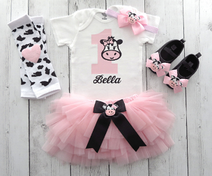 Barnyard First Birthday Outfit in pink with cow shoes - cow 1, girl 1st bday outfit, cowgirl, farm animal, barnyard animal birthday girl