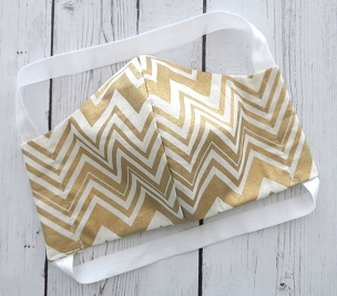 Ladie's Face Mask in Gold Chevron Print -READY TO SHIP! - made in usa, handmade cotton mask, comfortable face mask, washable and re-usable