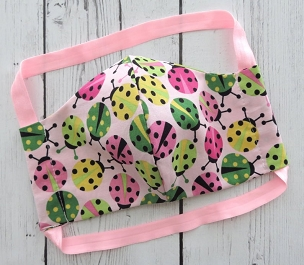 Ladybug Face Mask - READY TO SHIP! - handmade cotton face mask, pink lime, washable and re-usable, ear saver design, comfortable face mask