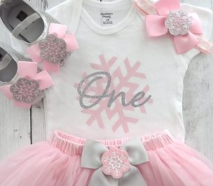 Snowflake First Birthday Outfit in pink and silver with tutu - baby girl first birthday dress, snowflake pink, snow much fun to be one girl