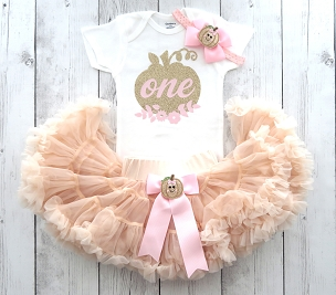 Pumpkin First Birthday Outfit with light orange pettiskirt tutu - 1st bday tutu, pumpkin 1st bday outfit girl, little pumpkin is one, floral