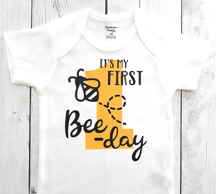 First Bee-day Onesie in yellow and black for boy - first bee-day birthday outfit, bee shoes, bee 1st bday outfit, first birthday boy
