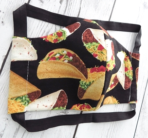 Taco Face Mask - READY TO SHIP! - handmade cotton face mask for adult, washable and re-usable, ear saver design, designer face mask (COPY)