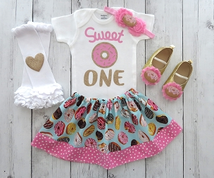 Donut First Birthday Outfit for Girl - donut shoes, doughnut 1st bday outfit, one year old, first birthday girl, donut bday party