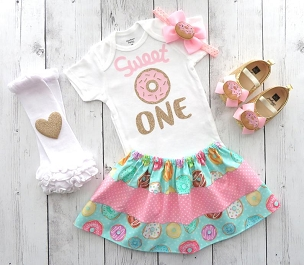 Donut First Birthday Outfit for baby girl - donut grow up, sweet one, donut first birthday party, pink purple donut birthday outfit