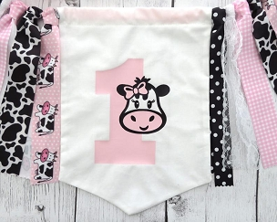 Cow High Chair Banner for First Birthday - barnyard banner, cow 1 pennant, cute pink cow bunting, cow 1st b'day party decorations