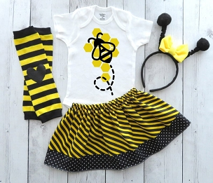 Bee Halloween Costume - baby girl halloween, first halloween, comfortable halloween costume, bumble bee halloween costume, bee costume girl