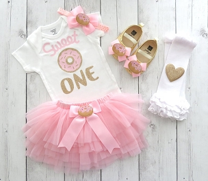Donut First Birthday Outfit for baby girl with pink tutu - donut grow up, sweet one, donut first birthday party, donut 1st birthday outfit