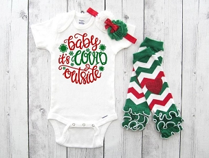 Baby it's COVID Outside Onesie for baby girl - corona baby, christmas onesie for baby, my first covid christmas 2020, funny baby onesie girl
