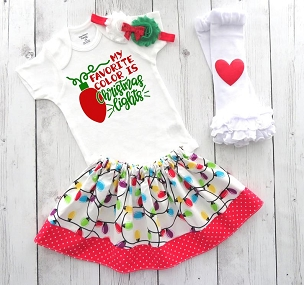 My Favorite Color is Christmas Lights -1st xmas outfit girl, baby's first christmas, holiday outfit, baby girl chrsitmas dress, funny onesie