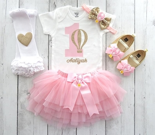 Hot Air Balloon First Birthday Outfit for baby girl with Pink Tutu bloomers - 1st birthday outfit girl, hot air balloon outfit, girl outfit