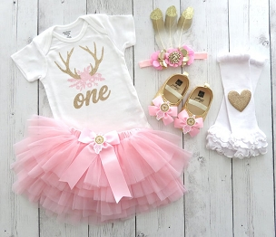 Antler Floral First Birthday Tutu - woodland creatures birthday girl, 1st bday outfit, deer head flowers, feather headband, pink gold tutu