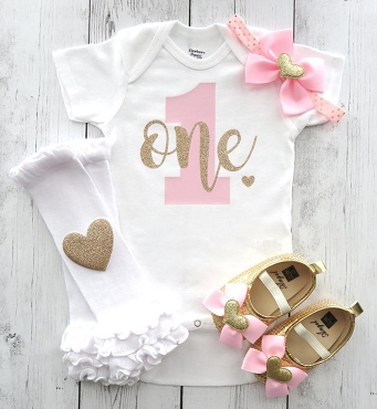 Pink and Gold First Birthday Onesie - simple birthday shirt, pink and gold, themeless bday outfit, pink and gold birthday girl