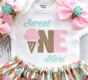 Sweet One First Birthday Outfit in pink mint and gold - ice cream first birthday girl, ice cream shoes, sweet one personalized, cone skirt