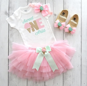 Sweet One First Birthday Outfit - Ice Cream First Birthday Party Girl - pink mint gold, ice cream shoes, sweet one tutu, bday tutu outfit