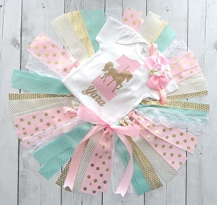 Carousel Horse First Birthday Outfit with Tutu, Headband and Shoes - pink mint and gold, carousel horse tutu birthday outfit girl