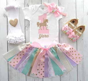 Carousel Horse First Birthday Outfit with Tutu, Headband and Shoes - pink mint lavender gold, carousel horse tutu birthday outfit girl