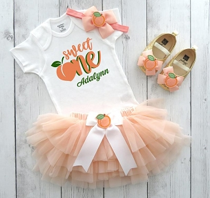 Peaches First Birthday Outfit for baby girl with peach tutu bloomers -one sweet peach, peaches first birthday party girl, one year old dress