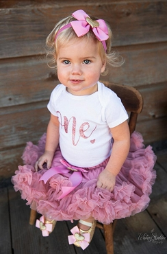 Themeless, Simple First Birthday Outfit with dusty rose pettiskirt tutu - 1st bday tutu, rose gold 1st bday outfit girl, dusty rose birthday
