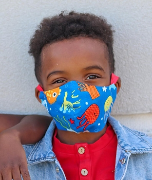 YOUTH (Ages 5-8) Face Mask in Under the Sea print - handmade cotton mask, washable and re-usable, comfortable head elastic, kids face mask