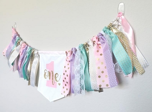 Pink, Mint, Gold and Lavender High Chair Banner for First Birthday - themeless/simple birthday banner, hearts pennant, bunting, one year old