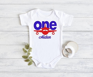 Airplane First Birthday Onesie for Boy - one year flew by, red and blue, time flies, vintage airplane, airplane pilot birthday boy