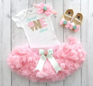 Sweet One First Birthday Outfit with Pink Tutu Pettiskirt - ice cream 1st bday girl, ice cream shoes, summer birthday, bday outfit tutu
