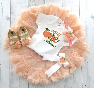 Peach First Birthday Outfit with tutu pettiskirt - one sweet peach, 1st birthday outfit girl tutu, one year old, 1st birthday peaches theme