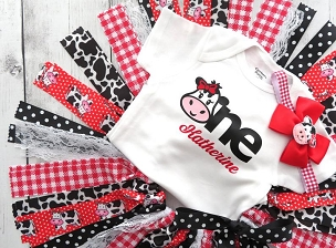 Cow First Birthday Outfit with Tutu, Headband and Shoes in red - barnyard first birthday outfit, cow 1st birthday tutu in red and black
