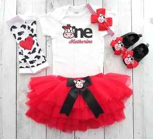 Barnyard First Birthday Outfit with red tutu and cow shoes - cow 1, girl 1st bday outfit, cowgirl, farm animal, barnyard animal birthday