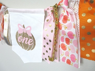 Pumpkin High Chair Banner for First Birthday - our little pumpkin is one banner, pumpkin pennant, pumpkin 1st bday party, orange pink gold